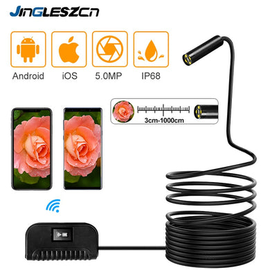 Wireless Endoscope CCTV Camera 5MP WiFi, In-Built Battery, Waterproof, Mobile App Controlled