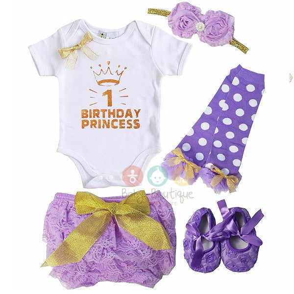 Baby 1st Birthday Princess Bodysuit, Purple Lace Bloomers, Leg Warmers, Flower Shoes and Headband Set
