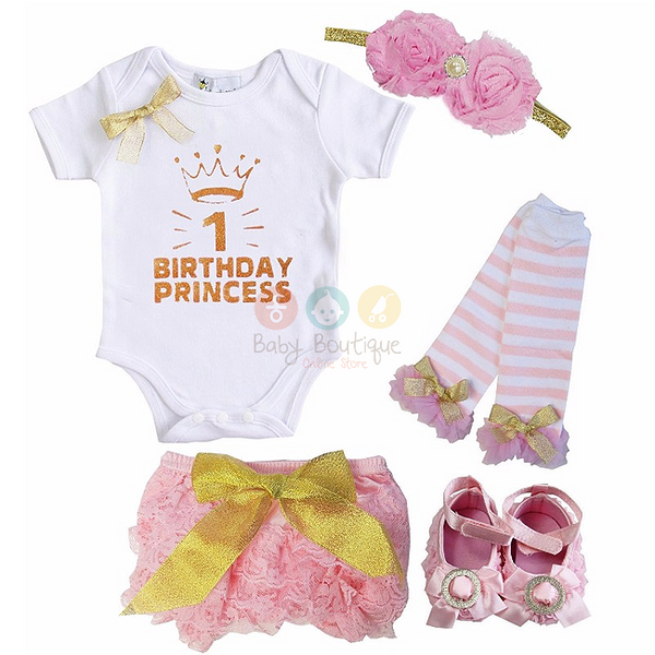 Baby 1st Birthday Princess Bodysuit, Light Pink Lace Bloomers, Leg Warmers, Flower Shoes and Headband Set