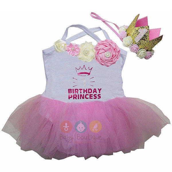 Baby 1st Birthday Princess White Pink Rosettes Tulle Tutu Bodysuit & 1st Crown Headband