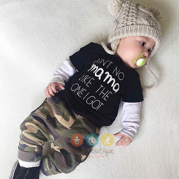 AIN'T NO MAMA LIKE THE ONE GOT Long Sleeves Top and Camouflage Pants Baby Boy 2PCs Set