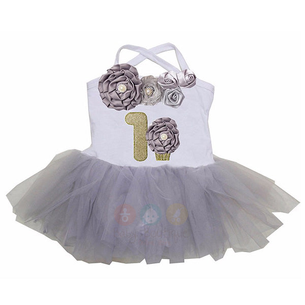 Baby 1st Birthday Cupcake Silver Gray Vintage Rosettes Tulle Tutu Bodysuit