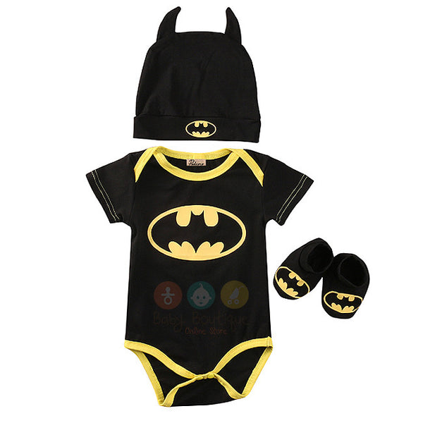 Batman Baby Boy Short and Long Sleeves Bodysuit with Hat and Shoes 3PCs Set
