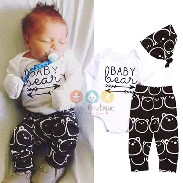 Baby Bear Cute Baby Boy 3Pcs Set
