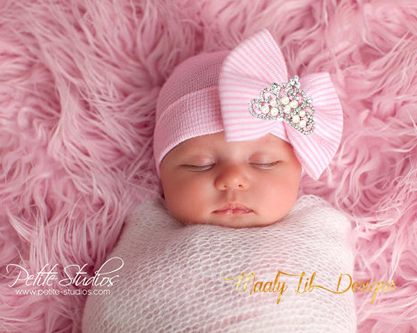 Handmade Beautiful Hospital Newborn Baby Bow Beanie With Pink Bow with Crystal Pearl Princess Tiara