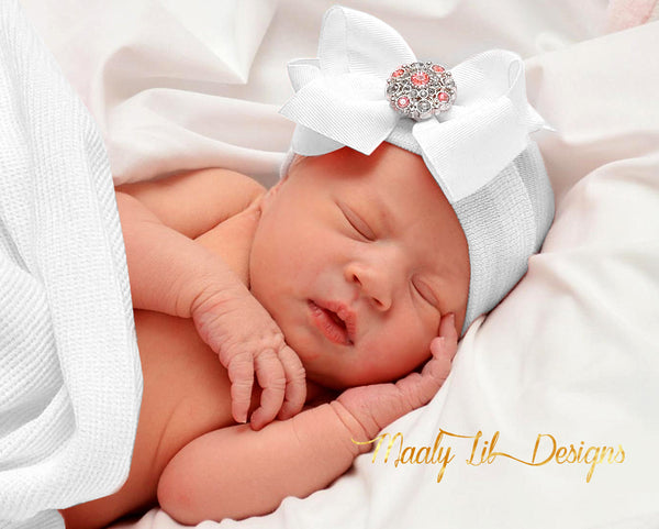 Handmade Beautiful Hospital Newborn Baby Bow Beanie With White Satin Bow and Crystals