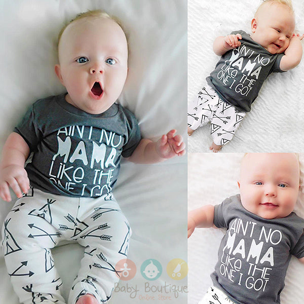 AIN'T NO MAMA LIKE THE ONE GOT Long Sleeves Baby Boy 2PCs Set