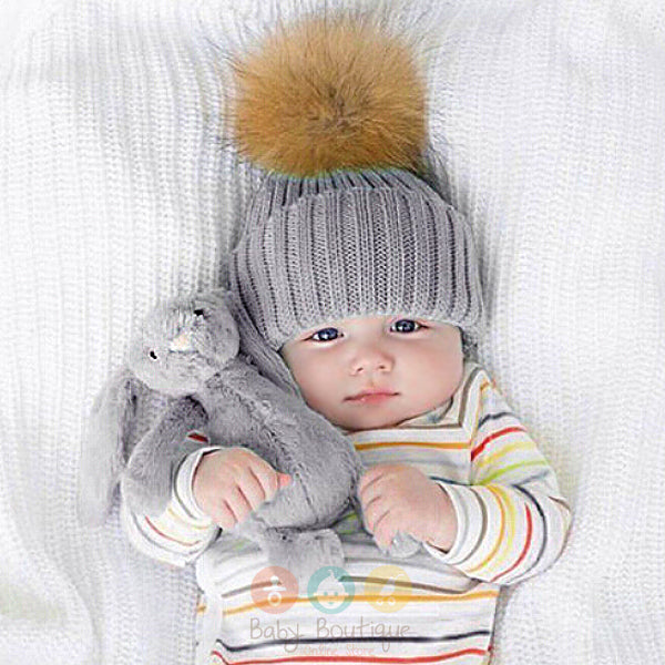 5 Colours Newborn Unisex Baby Hat Knitted Warm Winter with Fur Baby  PomPom Beanie