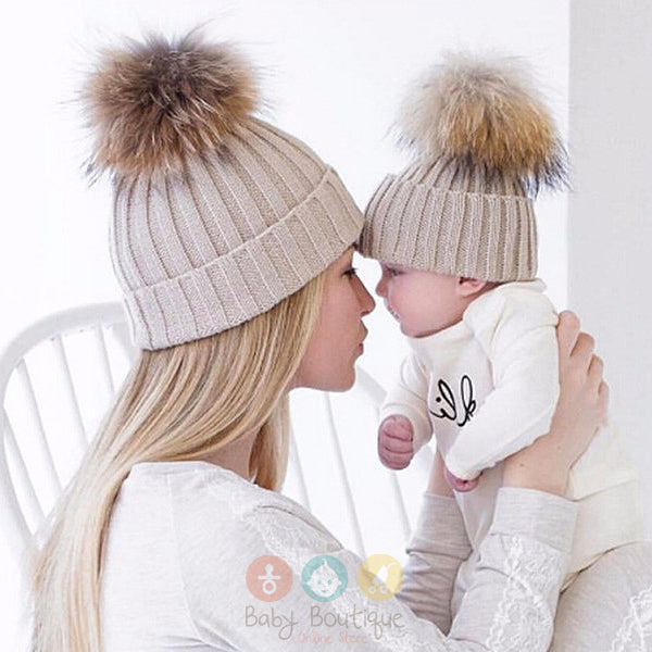 5 Colours Baby and Mom Unisex Baby Hat Knitted Warm Winter with Fur Matching PomPom Beanie