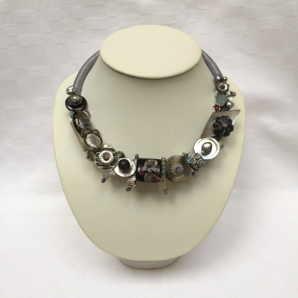 Grey & Silver Collar necklace