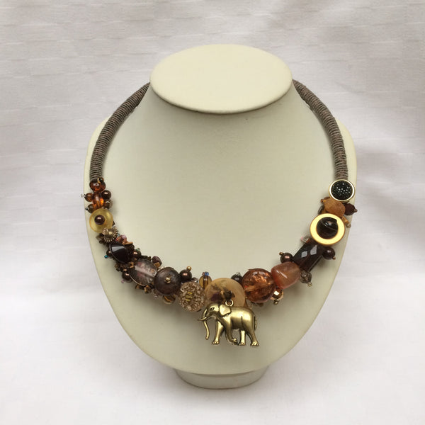 Brown Elephant Collar necklace