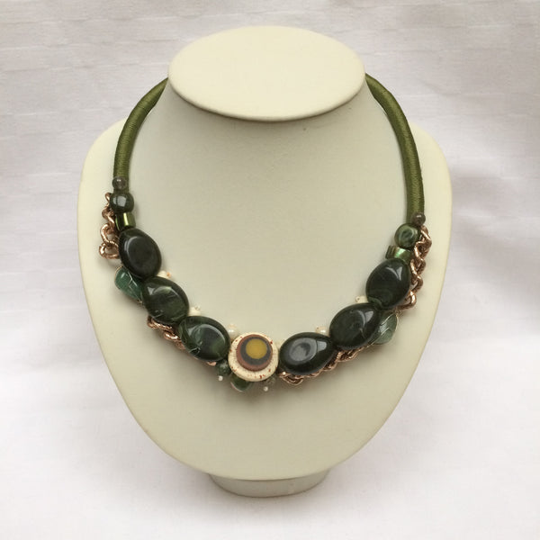 Dark Green & Gold Collar necklace