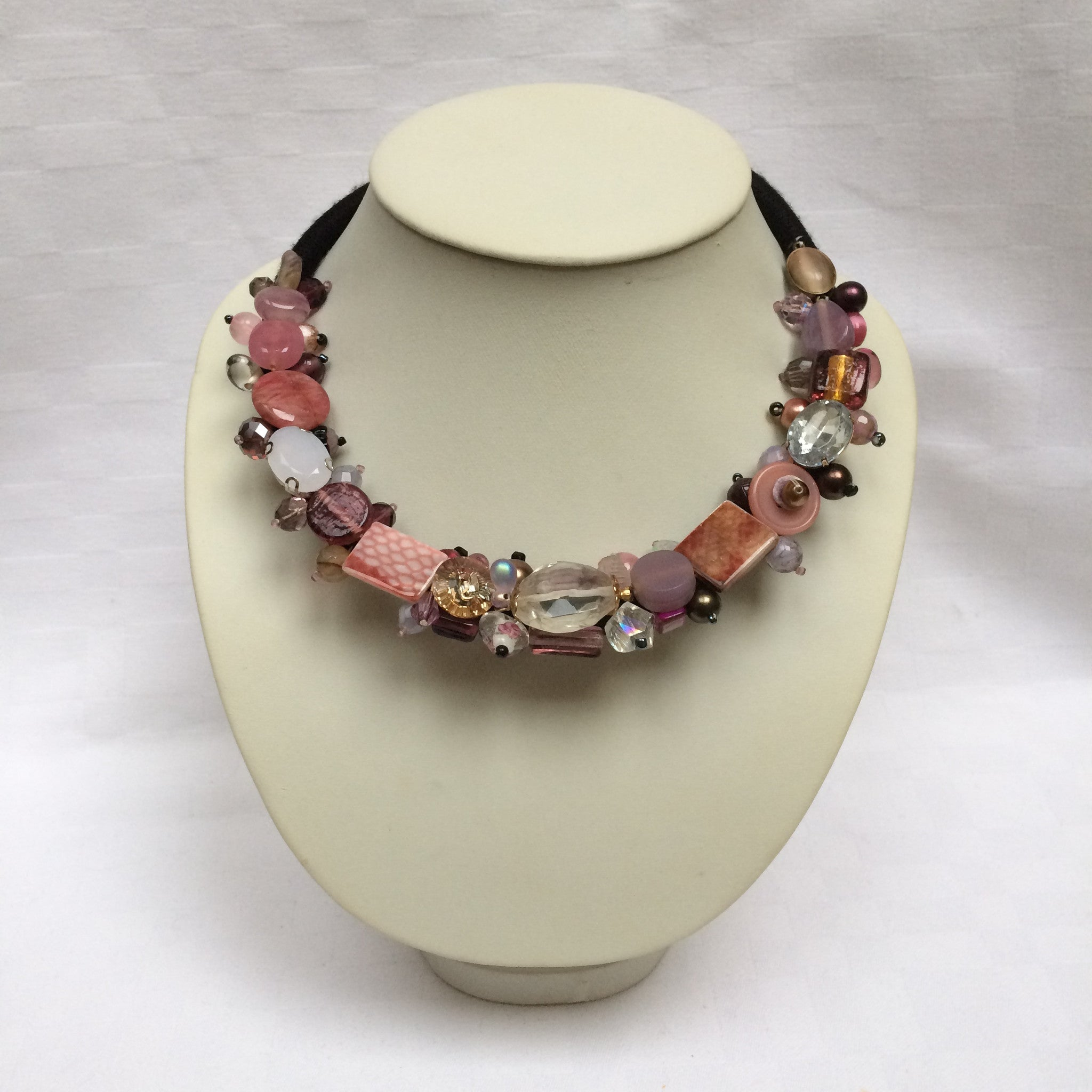 Pink, Grey & Glass Collar necklace
