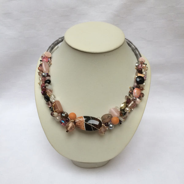 Grey, Pink & Orange Collar necklace