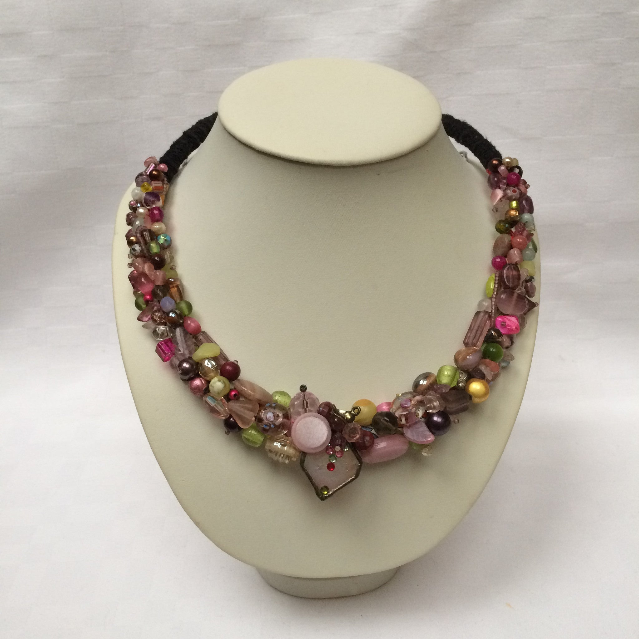 Purple, Pink & Green Multi-colour Collar necklace