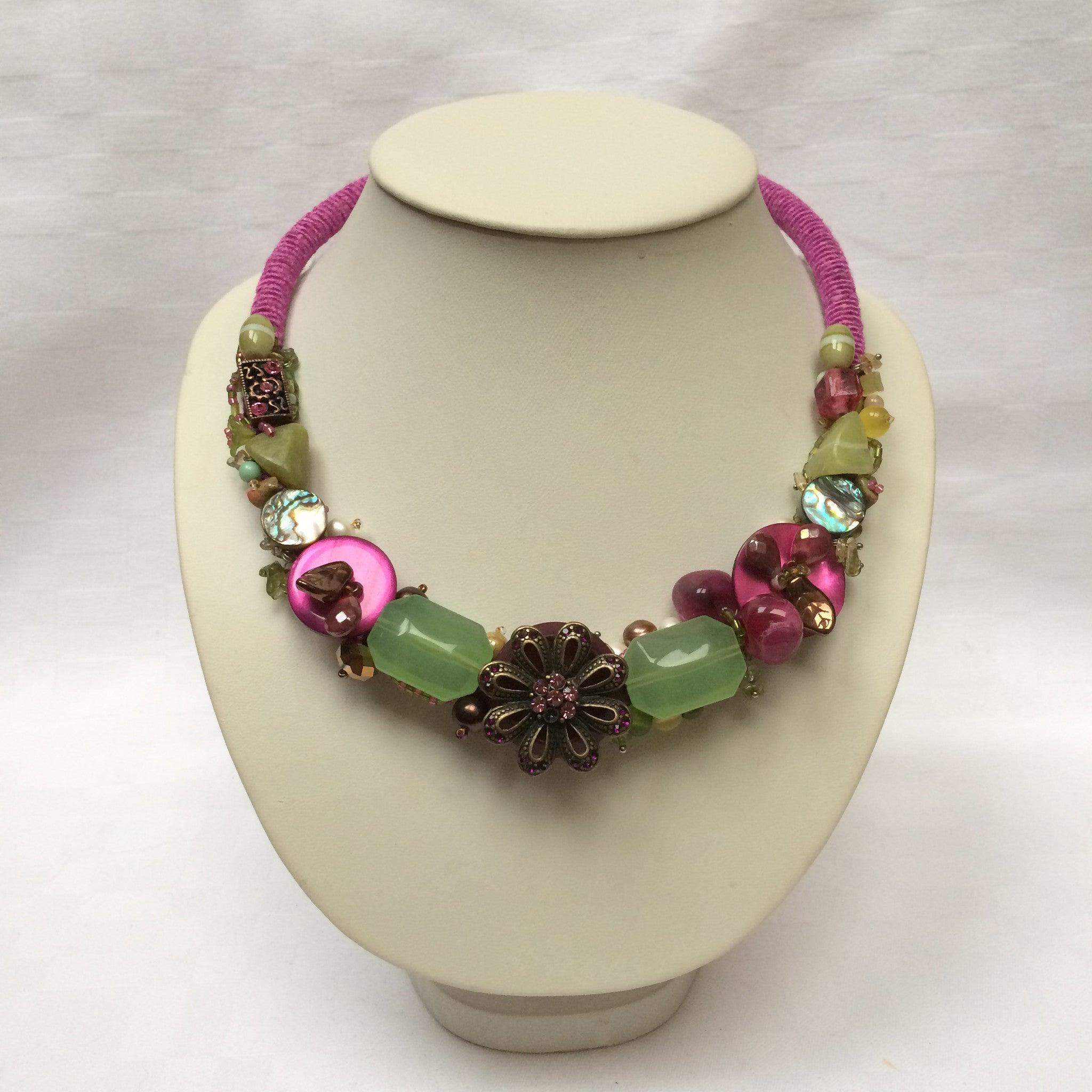 Green & Pink Collar necklace