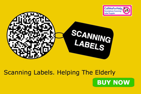 QR Scan Help Labels – helping the elderly, home services. A scanning a qr code in a circle. Text scanning labels, helping the elderly. a yellow background helping old people to view the display. A Buy Now green button.