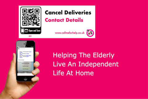 QR Scan Help Labels – text helping the elderly live an independent life at home. A cancel delivery contact details help label. a hand holding a mobile phone scanning the help label. the results displaying on the phone. Text Helping The Elderly. A pink background helping an old person to view.