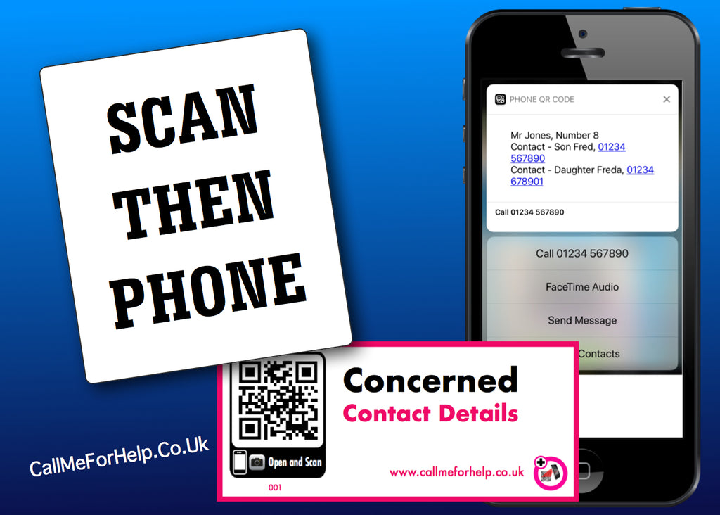 call me for help scan then phone concerned label featuring a phone and the label