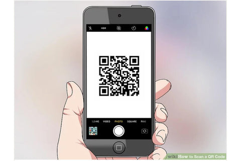 ICE sticker labels hand holding mobile phone displaying the qr code