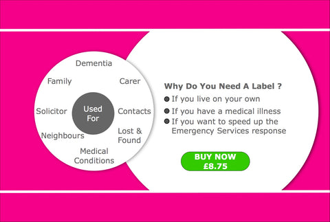 Scanning And Information Help Labels – helping the elderly, home help services. Two circles with text. Text Why Do You need these Help Labels?  Text Used For and a number of uses. Helping The Elderly. A Green BUY NOW Button A PINK background to make it easier for an old person to view.