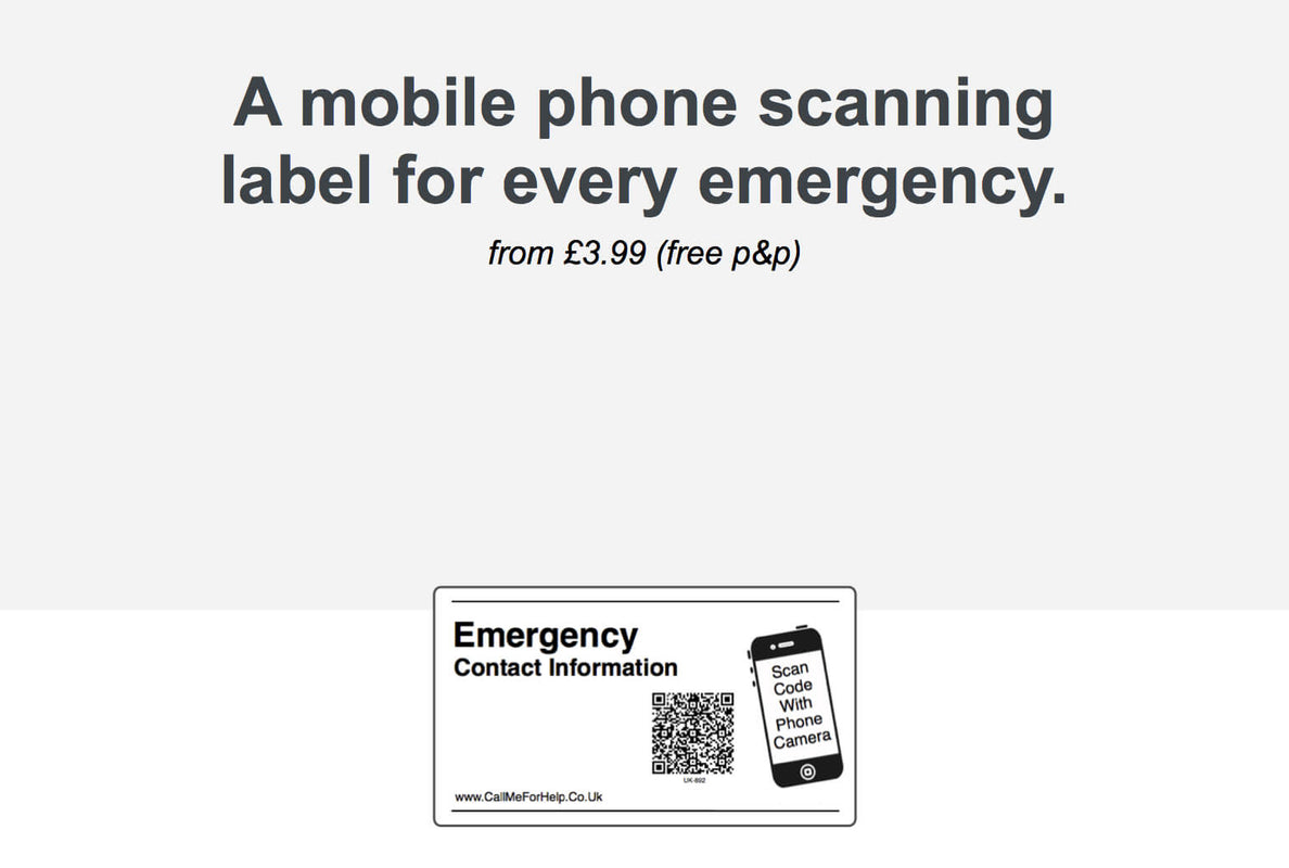call me for help home page displaying an emergency label and text for a mobile phone scanning label for every emergency