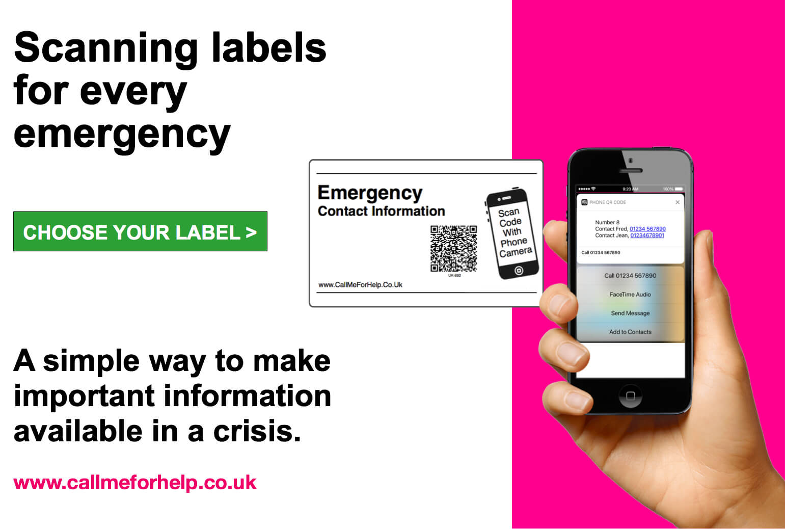 call me for help hand holding a mobile phone scanning an emergency label qr code
