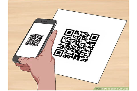 ICE sticker labels hand holding a phone scanning a qr code