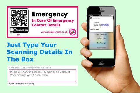 in case of emergency qr scanning labels