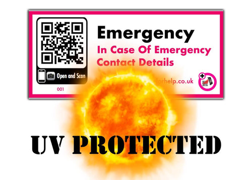 in case of emergency uv protected sticker label