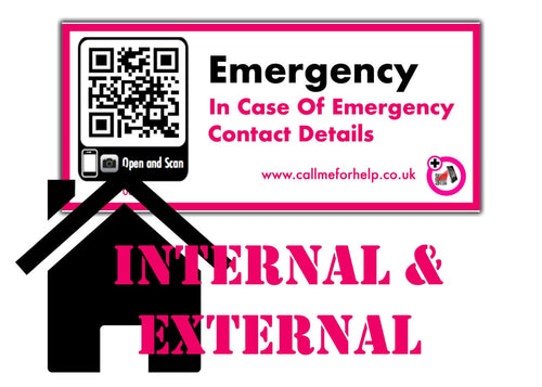 in case of an emergency internal and external sticker label
