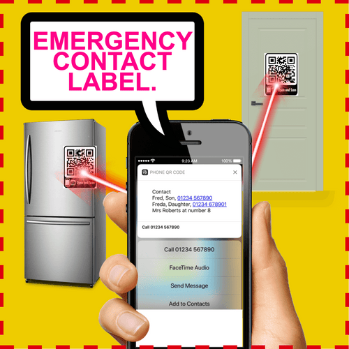 a phone displaying the results of scanning a qr code attached to a fridge and front door. a bubble with text emergency contact label
