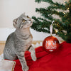 Pearhead Pet Meowy Christmas Ball Ornament - Red