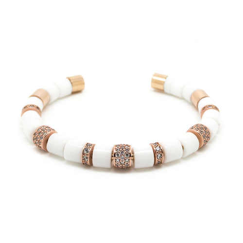 White and Rose Gold Beaded Bangle