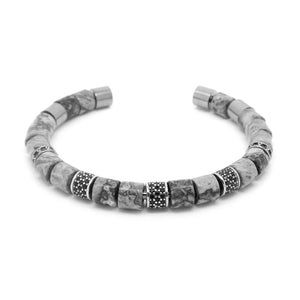 Gray and White Gold Beaded Bangle