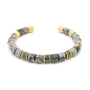Grey and Gold Beaded Bangle