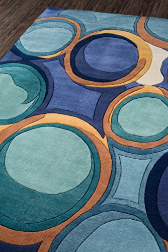 Momeni Rugs NEWWANW133BLU5380 Collection Contemporary