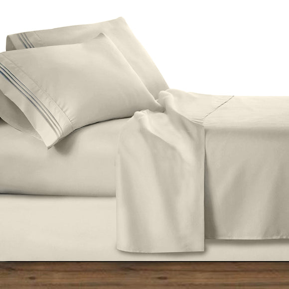 100% Egyptian cotton embroidered bed sheet set-Ivory - Bedding Nest
