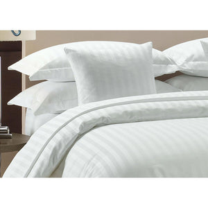 1000 TC-100% cotton stripe bed sheet set-White - Bedding Nest