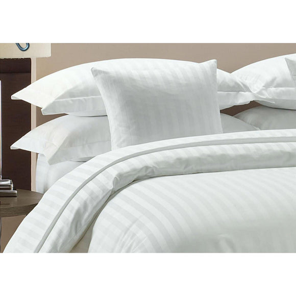 1000 TC-100% cotton stripe bed sheet set-White