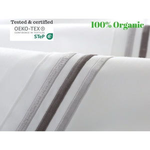 100% Egyptian cotton embroidered bed sheet set-White