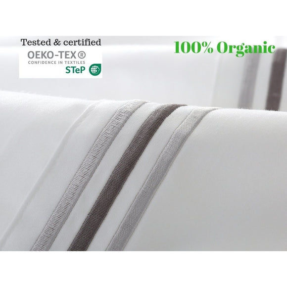 100% Egyptian cotton embroidered bed sheet set-White - Bedding Nest