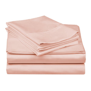 1200 TC-100% Egyptian cotton bed sheet set- Pink - Bedding Nest