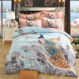 800 TC-100% Sanded Cotton Peacock Sheet Pillowcases & Quilt cover Queen Full King Size Bed Linens