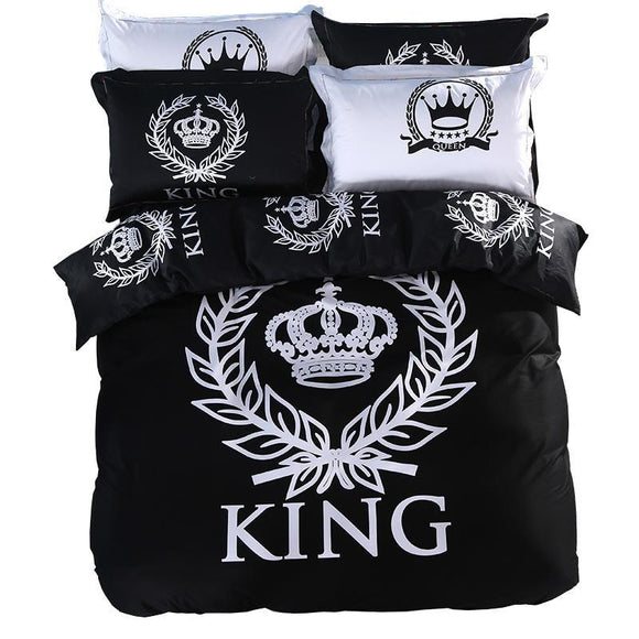 800 TC-100% Cotton Royal Bedding set Print  Black&White Series