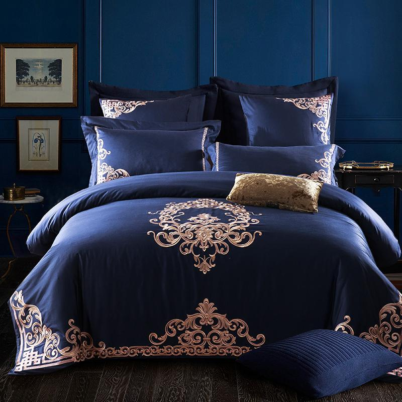 Cotton Bedding Sets King.1000 Tc Embroidered Egyptian Cotton Bedding Sets Queen King Size Flat Bed Sheet Pillowcases Duvet Cover Set Blue