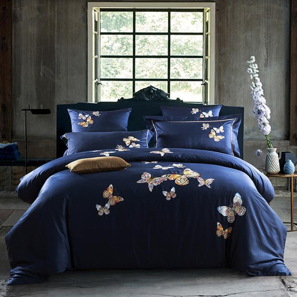 1000 TC-Butterflies Embroidered Linens Egyptian cotton Bed sheet Pillowcases Quilt Cover Set