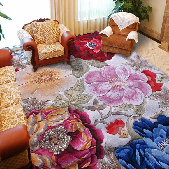 100% Floral Wool Large size carpets for parlor living room - Bedding Nest
