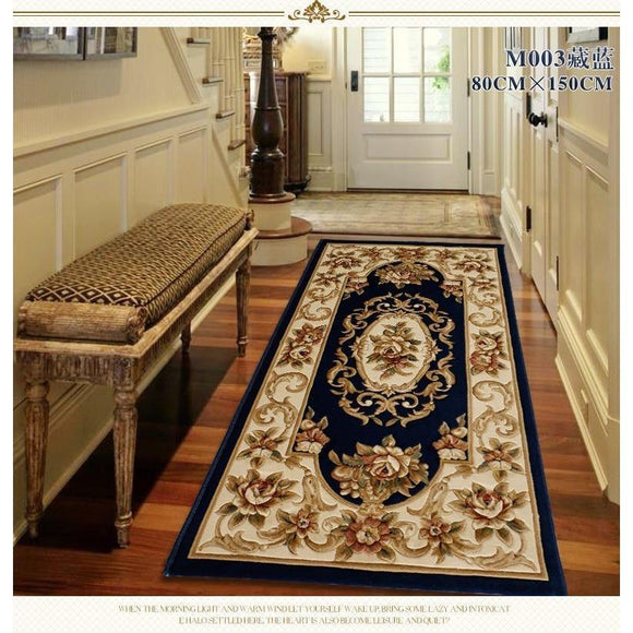 Blue Corridor carpets  Runner rugs Luxury Whole Floral Large size Custom to size European carpet 100% wool mats Wool carpets - Bedding Nest