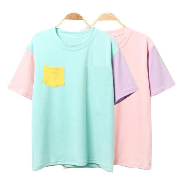 Pastel Patchwork T-Shirt The KPOP Dept. - KPOP AIR